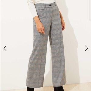 Ann Taylor LOFT Plaid High Waist Wide Leg Pants